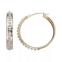 Diamond Fascination 10k Gold Hoop Earrings, Women's ...