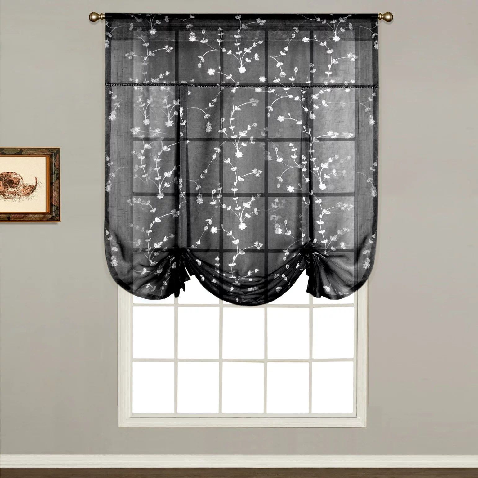 kitchen curtains kohls sink drain catcher black drapes window treatments home decor kohl s united curtain co savannah tie up shade 40 x 63