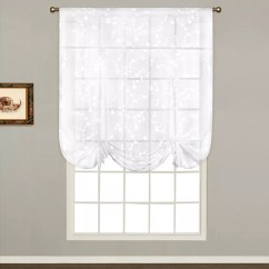 Kitchen Sheers Large Round Table White Curtains Drapes Window Treatments Home United Curtain Co Savannah Tie Up Shade 40 X 63
