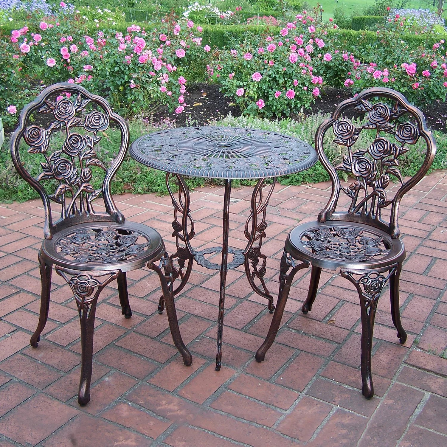 outdoor bistro table and chairs set kidkraft avalon chair white patio sets furniture collections rose 3 piece