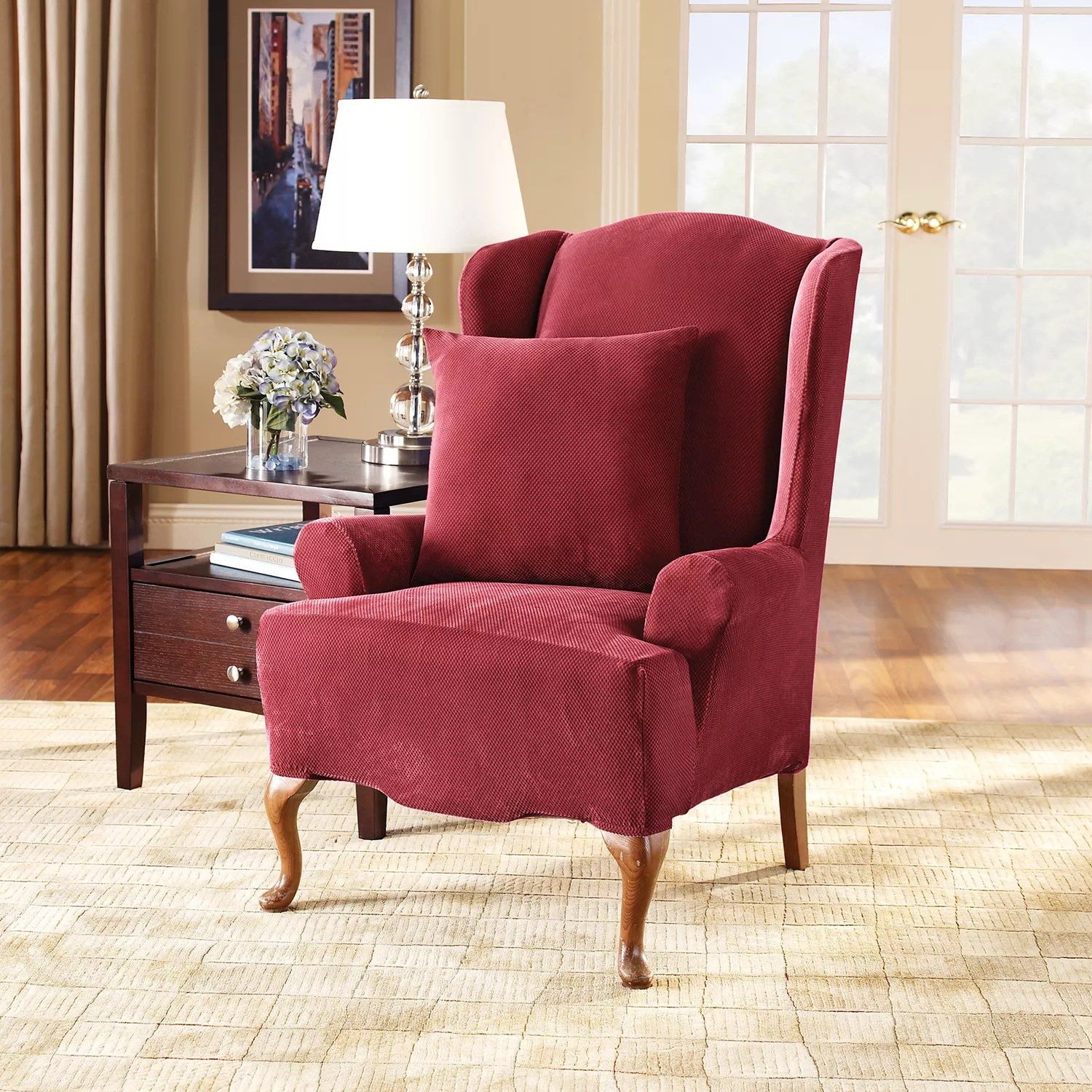 sure fit wing chair slipcover cushion rentals stretch pique