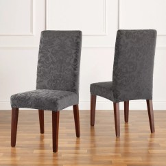 Dining Chair Covers For Home Design Tokyo Chairs Slipcovers Furniture Protectors Stretch Jacquard Damask Short Room Slipcover