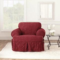 Chair Slipcover T Cushion Red Velvet Sure Fit Matelasse Damask