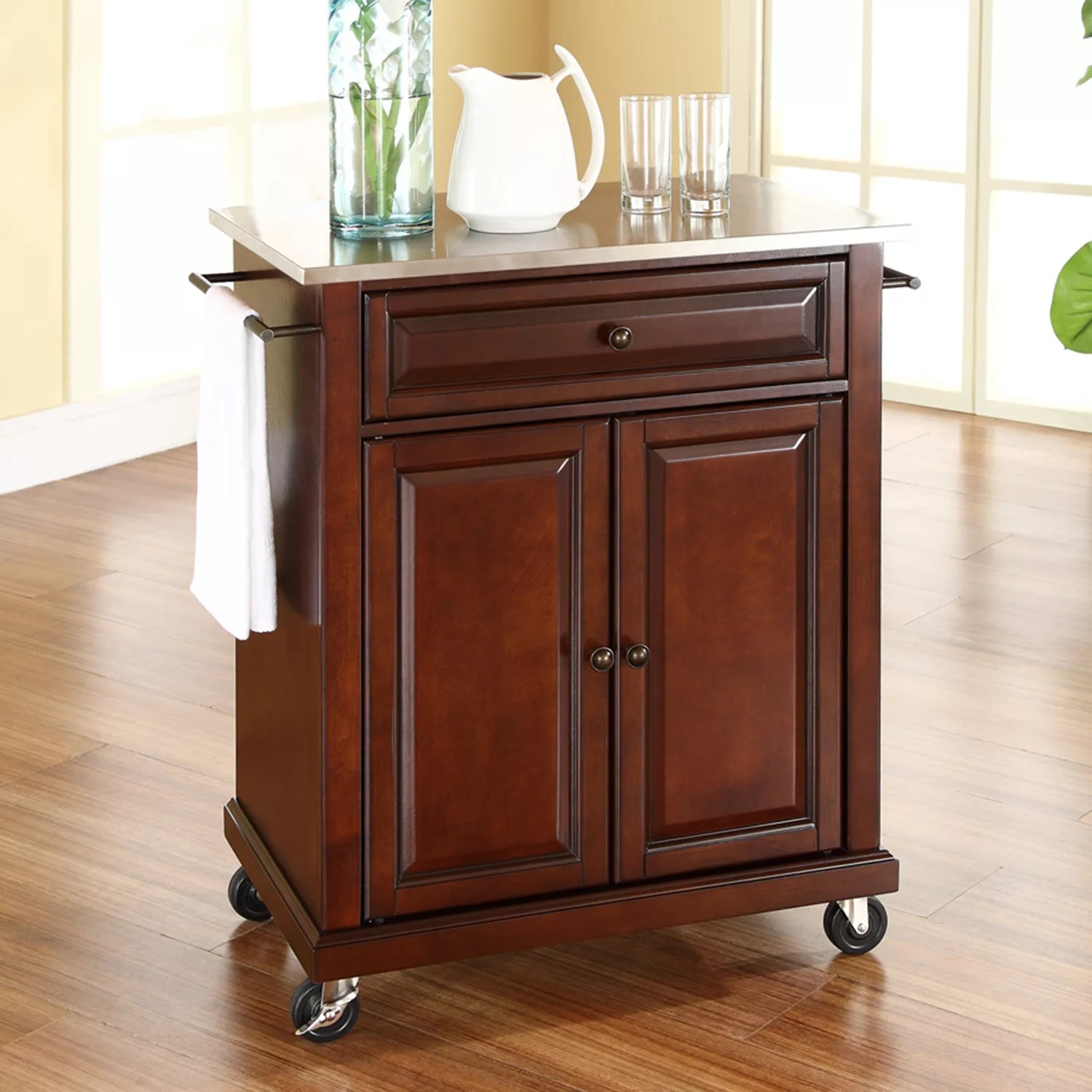 kitchen carts and islands how to build a cabinet kohl s crosley furniture stainless steel top island cart