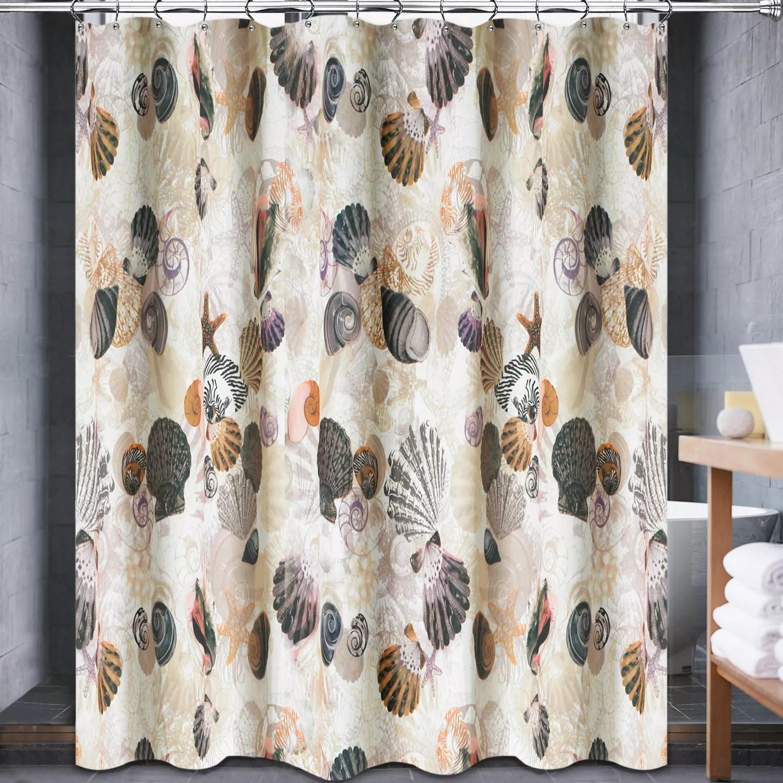Popular bath beach life fabric shower curtain