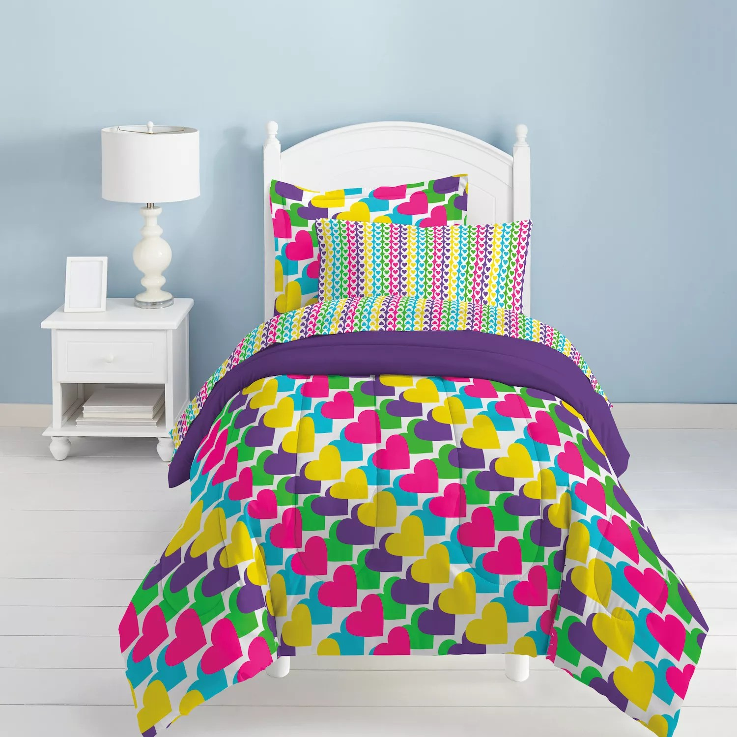 Dream Factory Rainbow Bed Set Purple