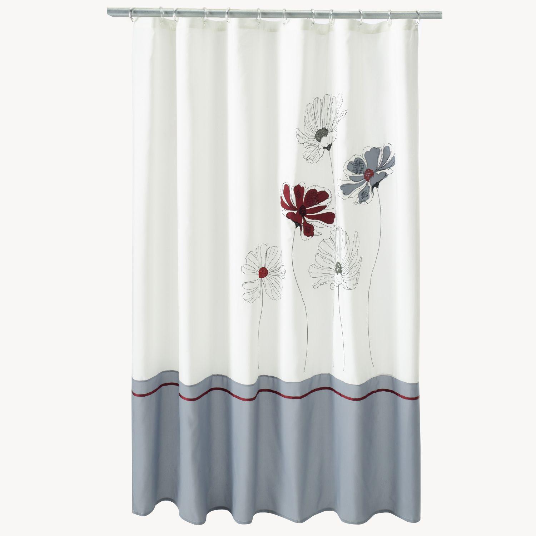 Saturday Knight Ltd Evan Stripe Floral Fabric Shower Curtain