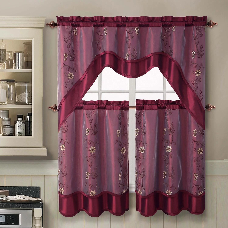 VCNY Daphne 3pc Swag Tier Kitchen Curtain Set