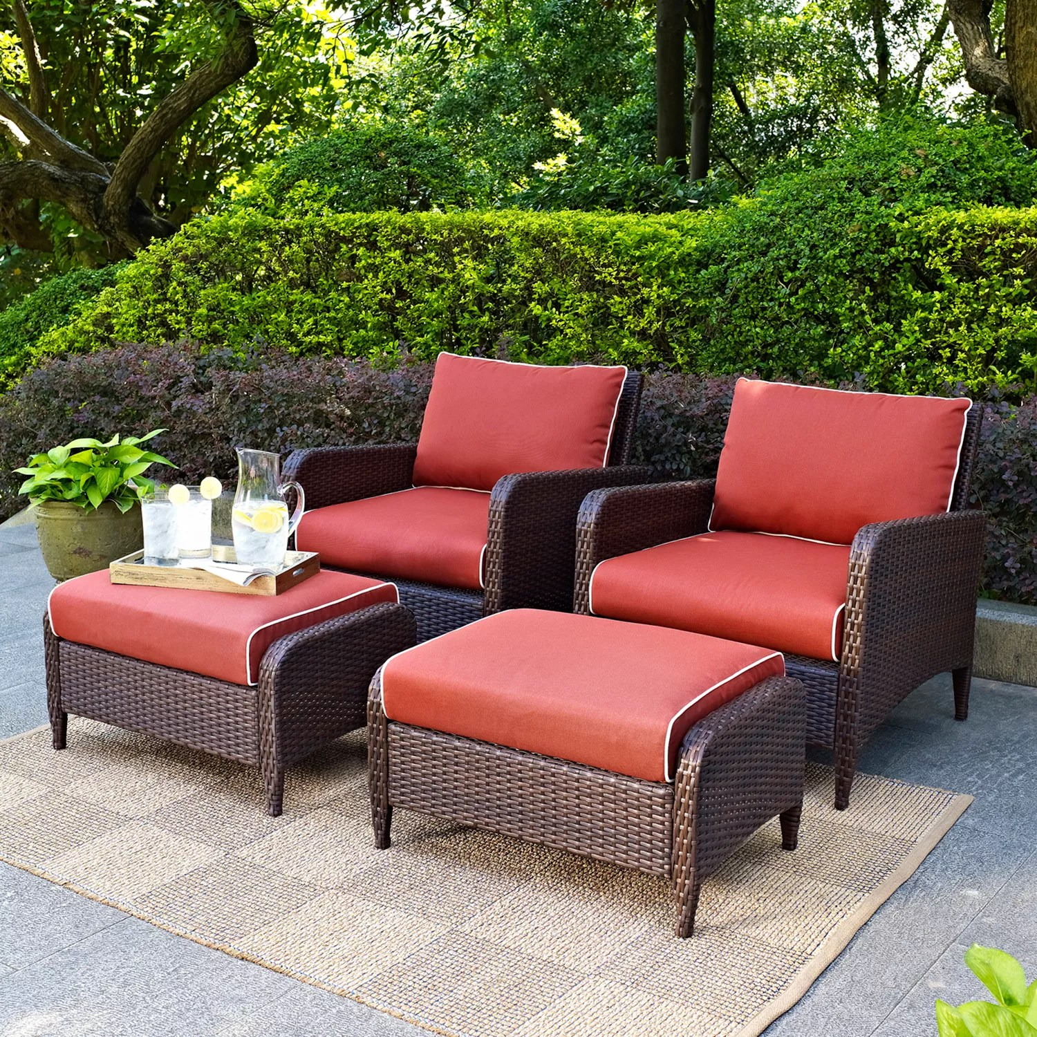 Crosley Outdoor Kiawah 4-pc. Wicker Seating Set