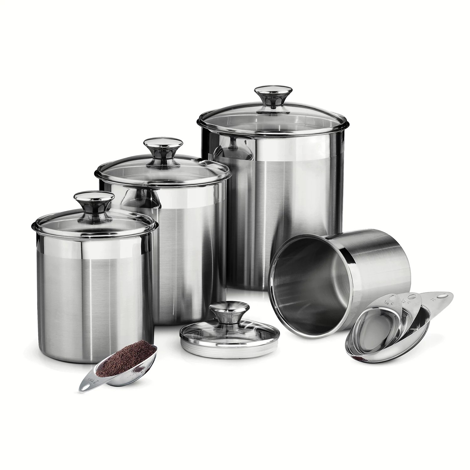 canisters kitchen wood table sets jars food storage dining kohl s stainless steel canister set