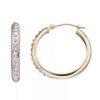Diamond Fascination 10k Gold Tube Hoop Earrings, Women's ...