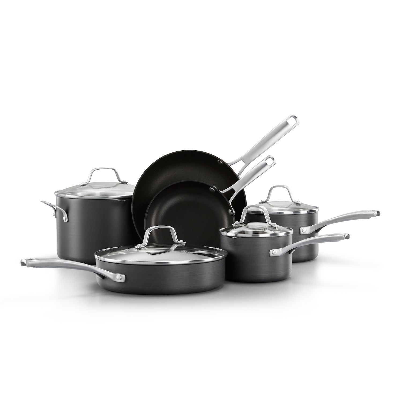 calphalon kitchen essentials dutch oven wood cart kohl s classic 10 pc hard anodized aluminum nonstick cookware set