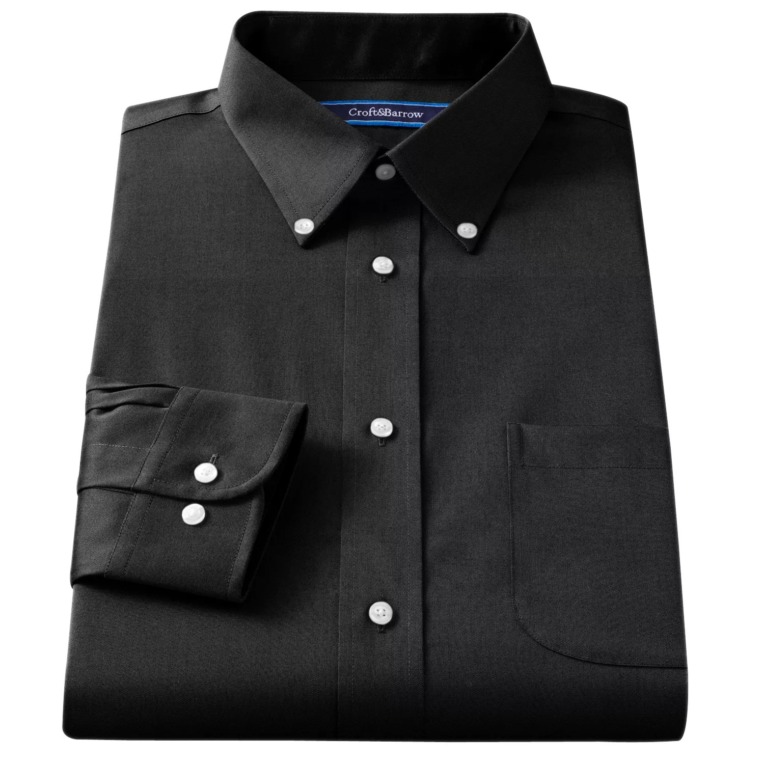 Croft & Barrow Fitted Solid Broadcloth Button- Collar