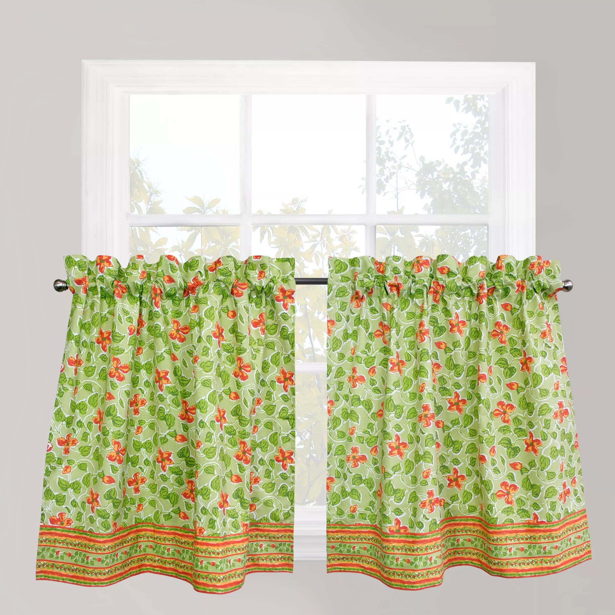 Park B Smith Boutique Flowers Tier Kitchen Window Curtain Set