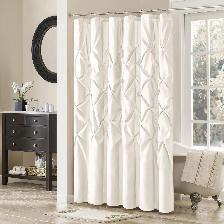 Madison Park Tufted Faux Dupioni Shower Curtain