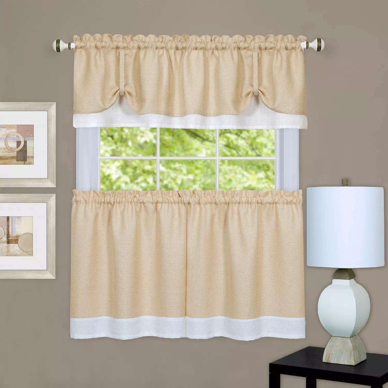 achim 3 piece darcy tier valance kitchen window curtain set