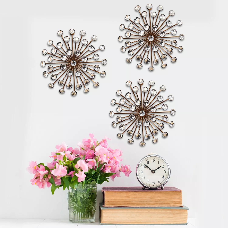 Stratton Home Decor Jeweled Sunburst Wall Art 3 Piece Set