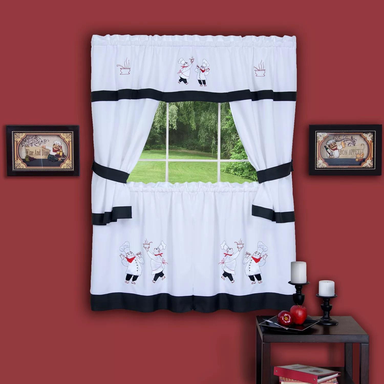 gourmet chef 5 piece tier swag kitchen window curtain set