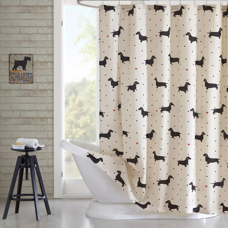 hipstyle hannah dachshund shower curtain