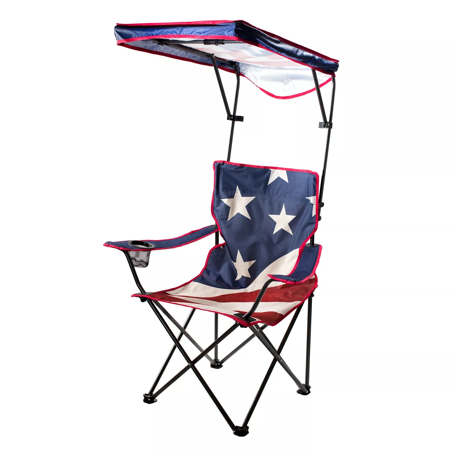 lawn chair with canopy hanging hardware lowes chairs furniture kohl s quik shade us american flag camp