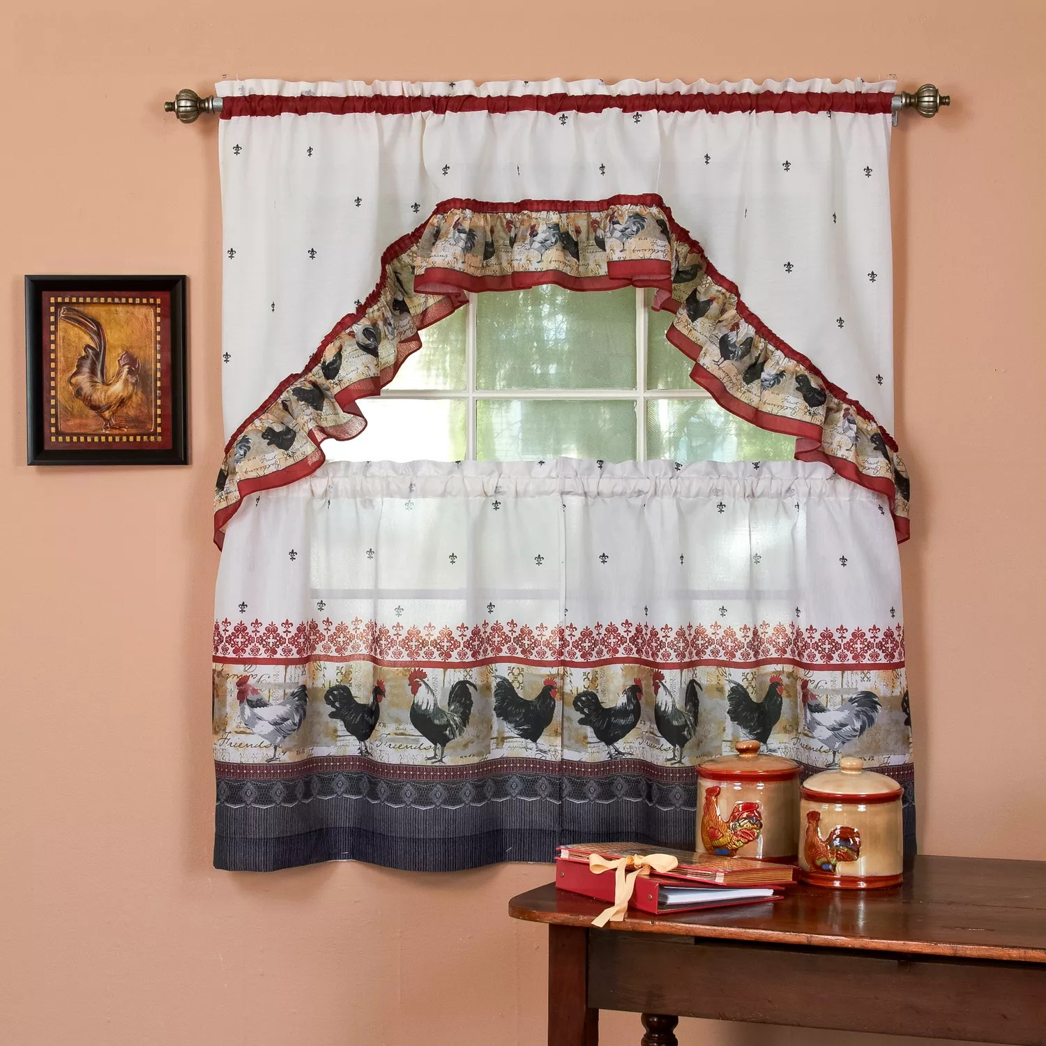 kitchen curtains kohls modern valances red drapes window treatments home decor kohl s rooster 3 piece swag tier curtain set