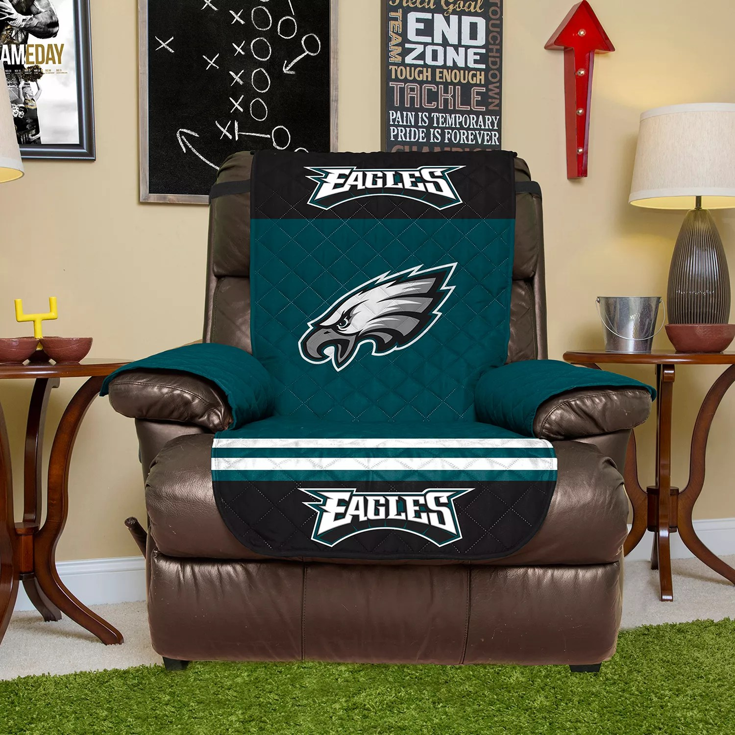 philadelphia eagles chair with ottoman india quilted recliner cover