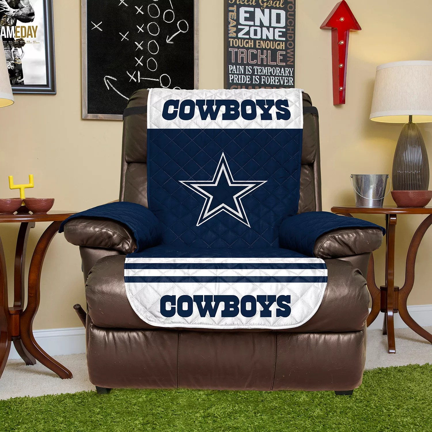 dallas cowboys chair cover transport chairs at walmart quilted recliner