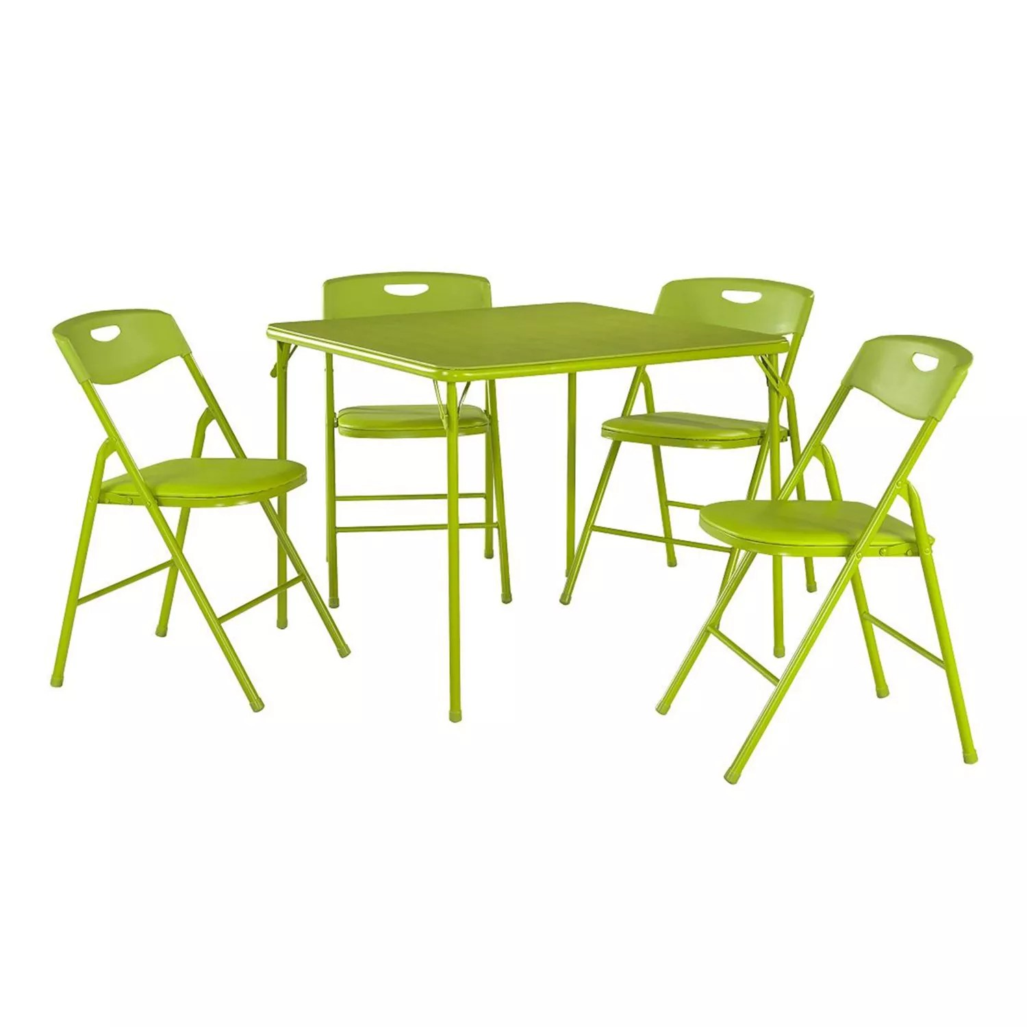 folding chair green lounge cushions cheap cosco table plastic backed 5 piece set
