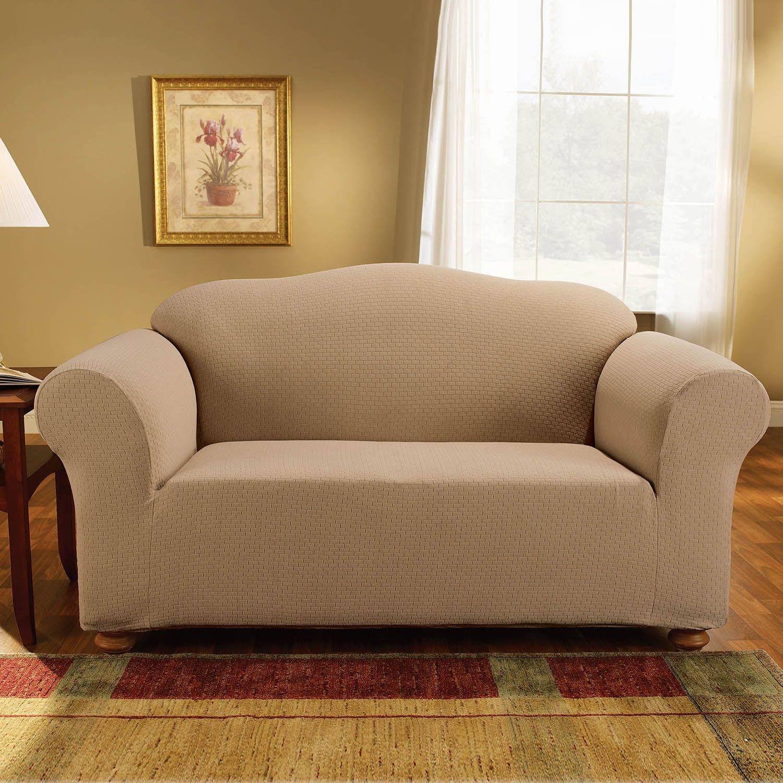 sure fit logan sofa slipcover sefton manual 3 seater recliner black slipcovers kohl s stretch subway loveseat