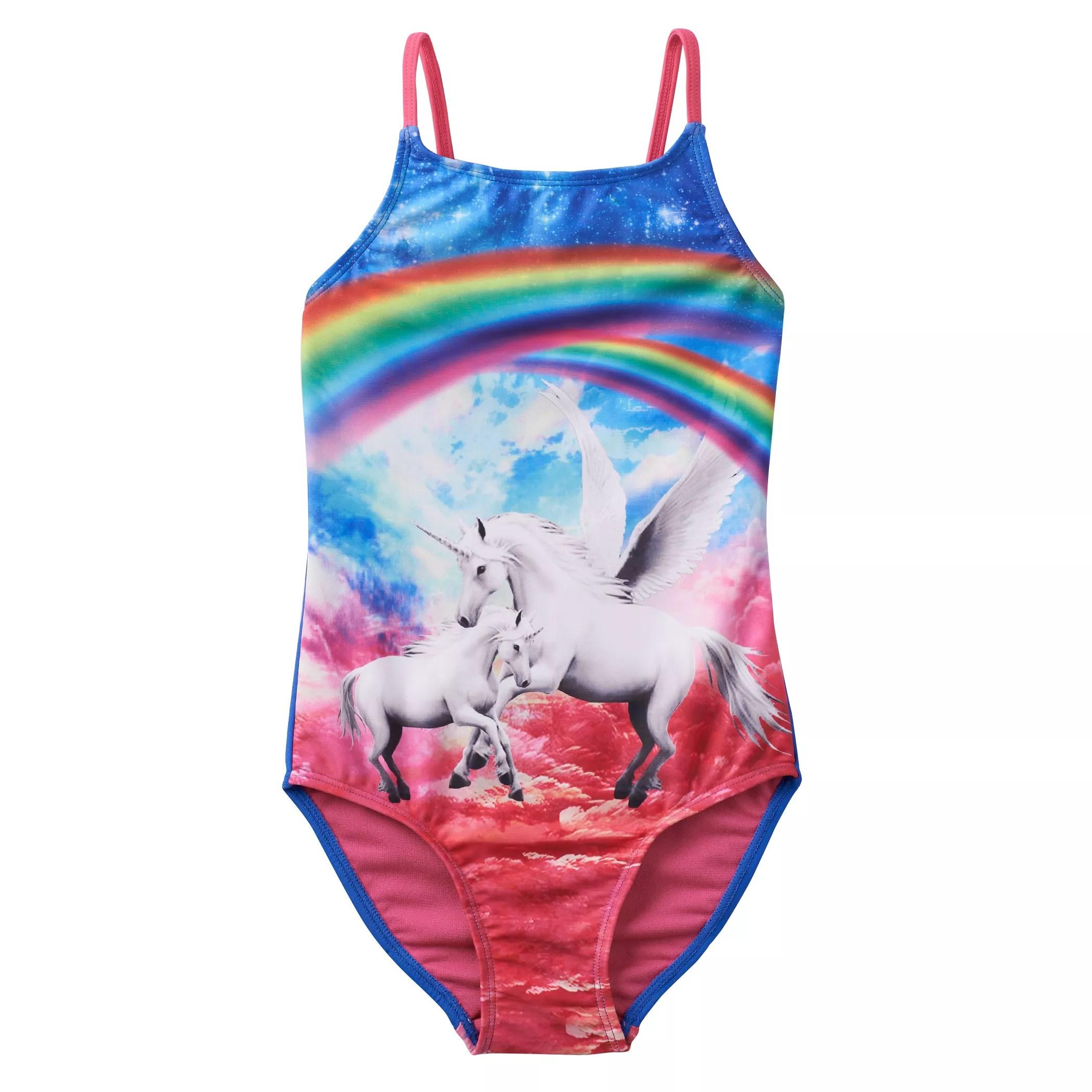 Girls 4 16 SO Rainbow Unicorn One Piece Swimsuit