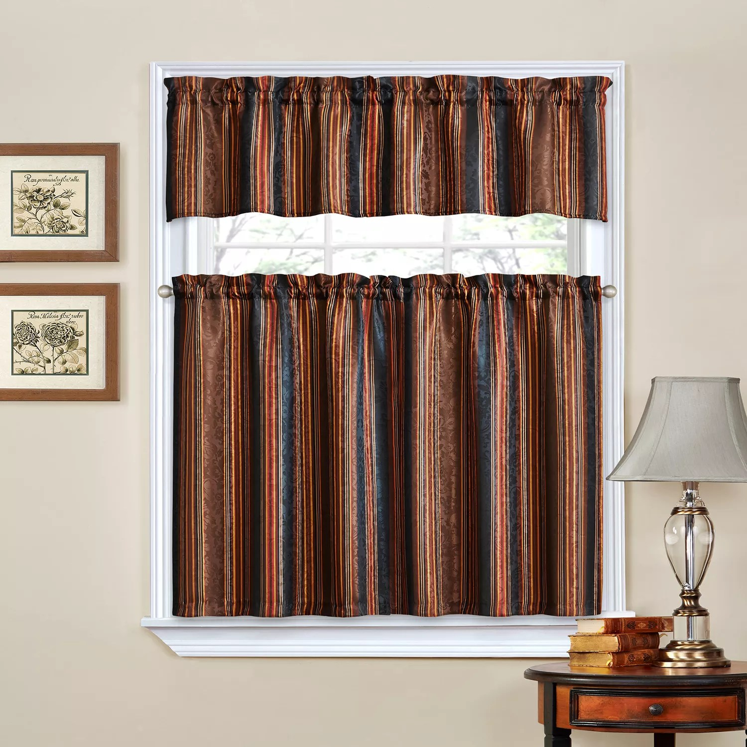 kitchen curtains kohls tile floors black drapes window treatments home decor kohl s traditions by waverly stripe ensemble tier valance curtain set
