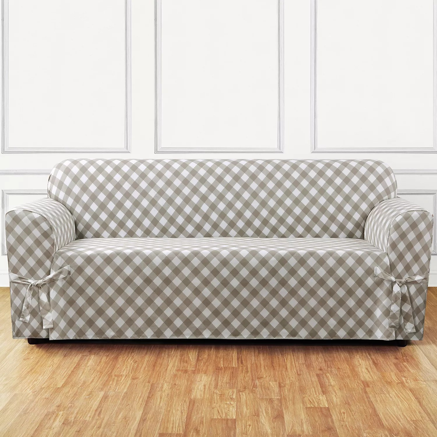 buffalo check sofa cover best leather conditioner sure fit slipcover