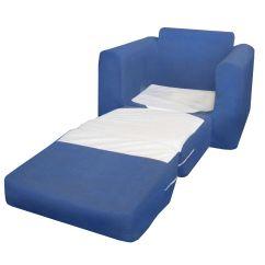 Sleeper Chair Leather And A Half Fun Furnishings Blue Microsuede Kids