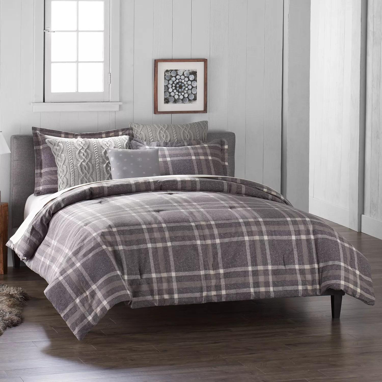 Cuddl Duds 6 Piece Gray Plaid Flannel Comforter Set