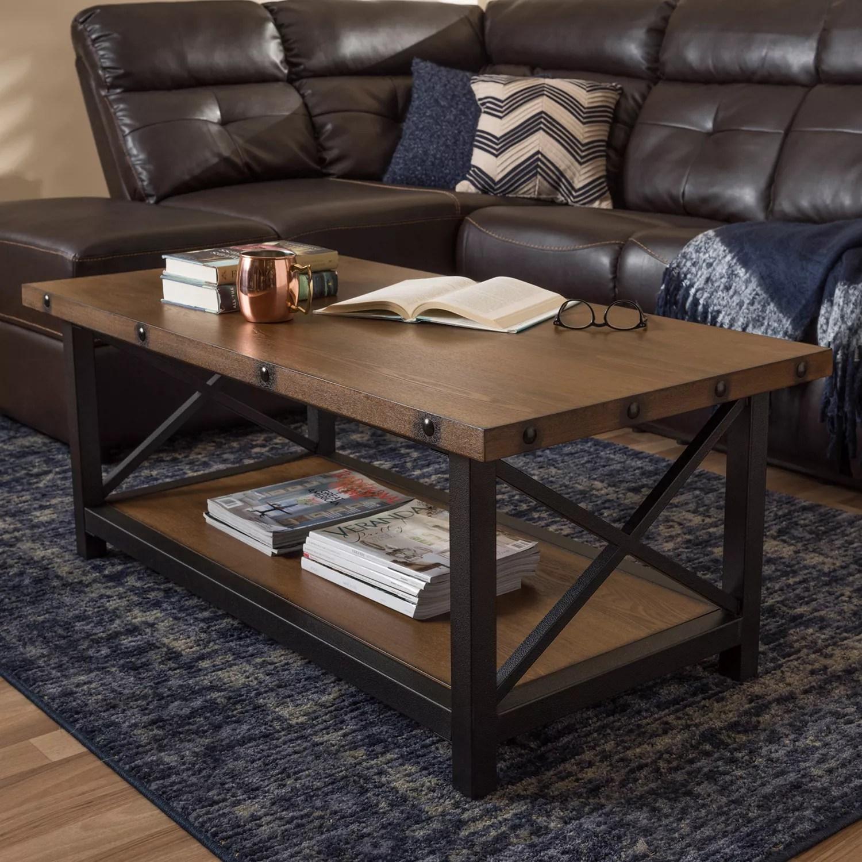 baxton studio herzen rustic industrial coffee table