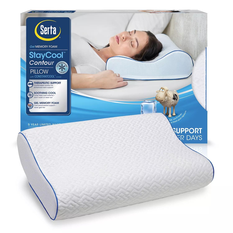 serta stay cool gel memory foam contour pillow