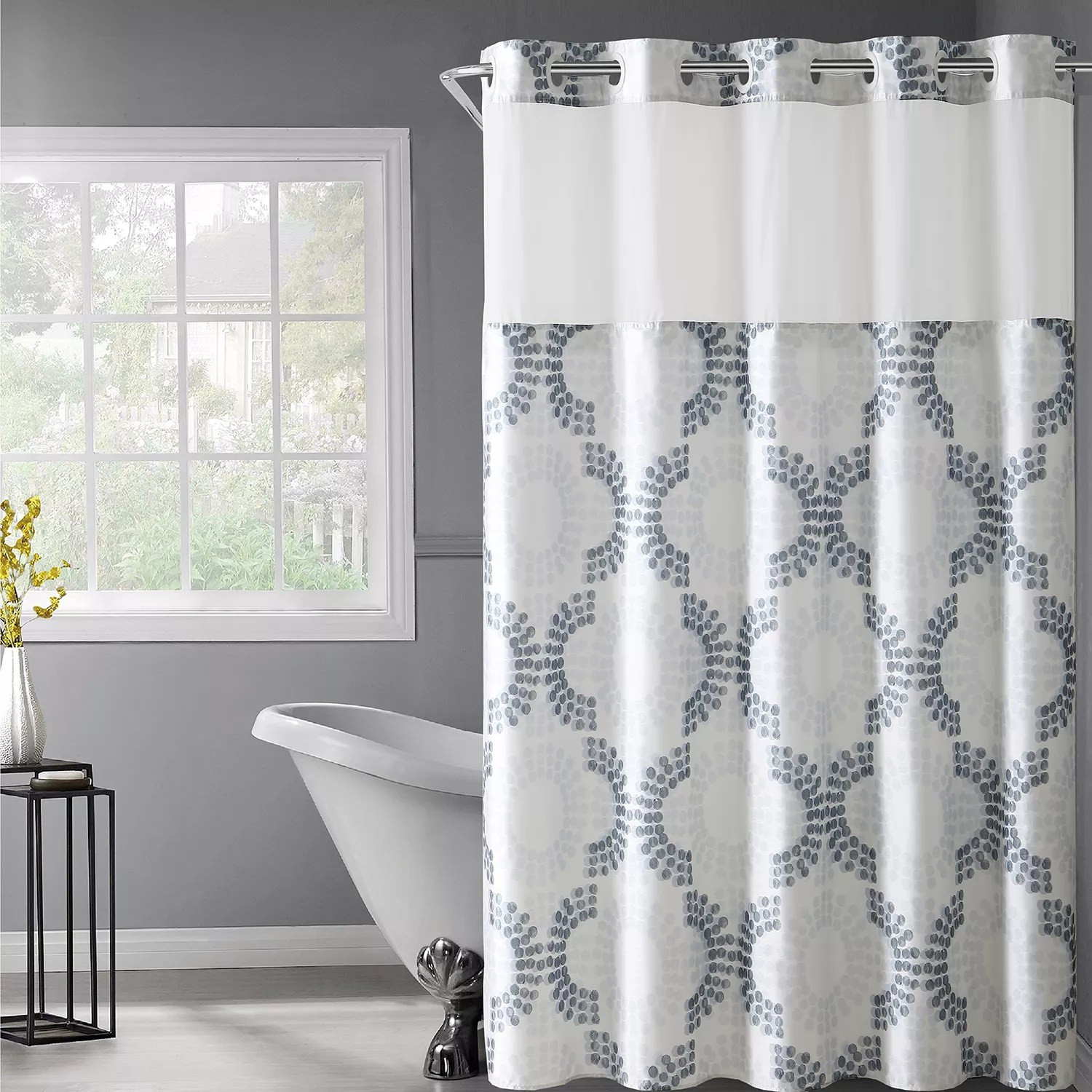 hookless stamped gate shower curtain snap in liner