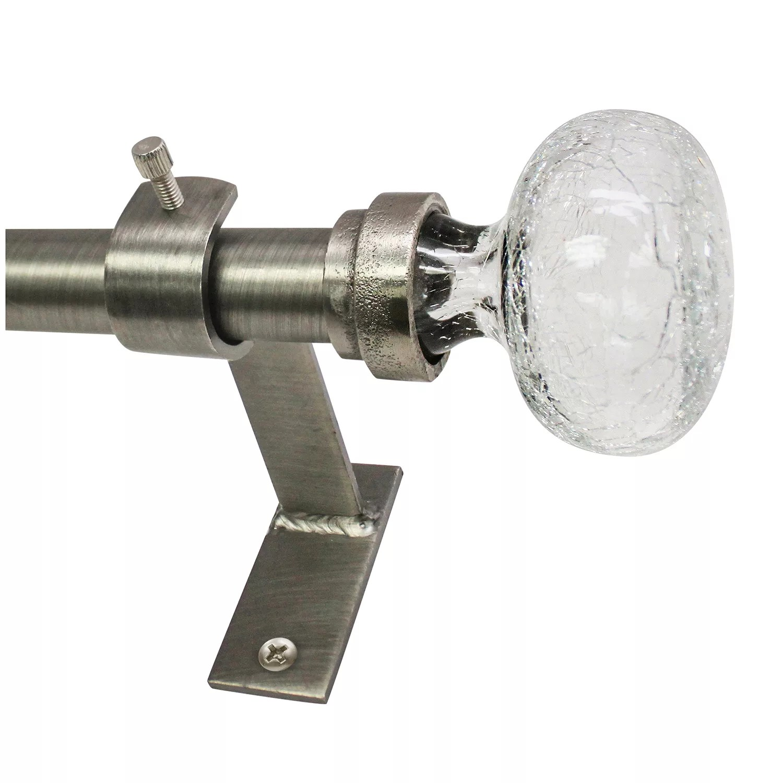 north branch crackle glass knob adjustable curtain rod
