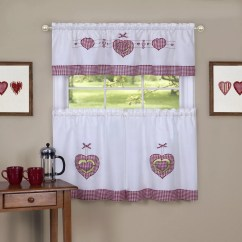 Kitchen Curtains Kohls Stonewall Aioli Achim Drapes Window Treatments Home Decor Kohl S Gingham Hearts Tier Valance Curtain Set