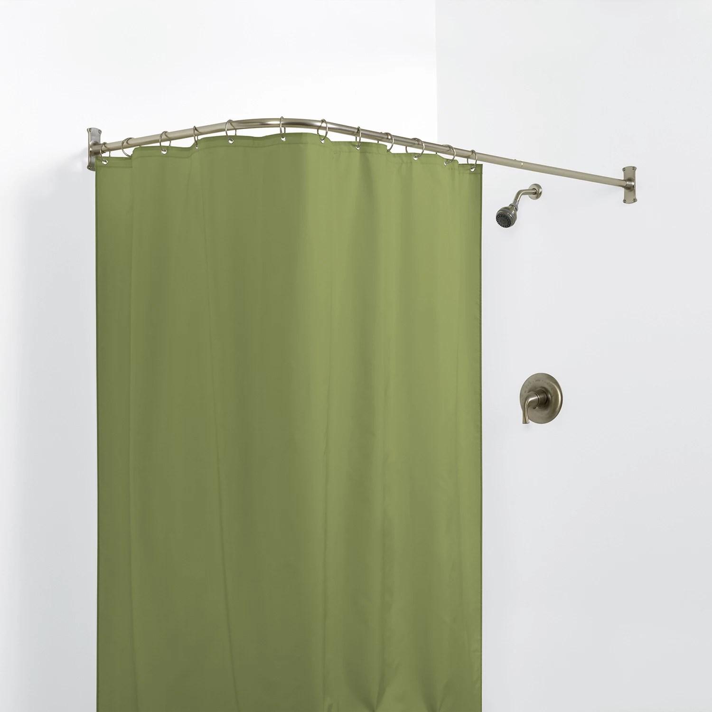 white shower curtain rods shower