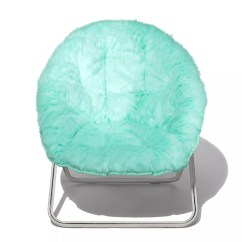 Teal Faux Fur Saucer Chair How To Weave A Seat Simple By Design Memory Foam Dish