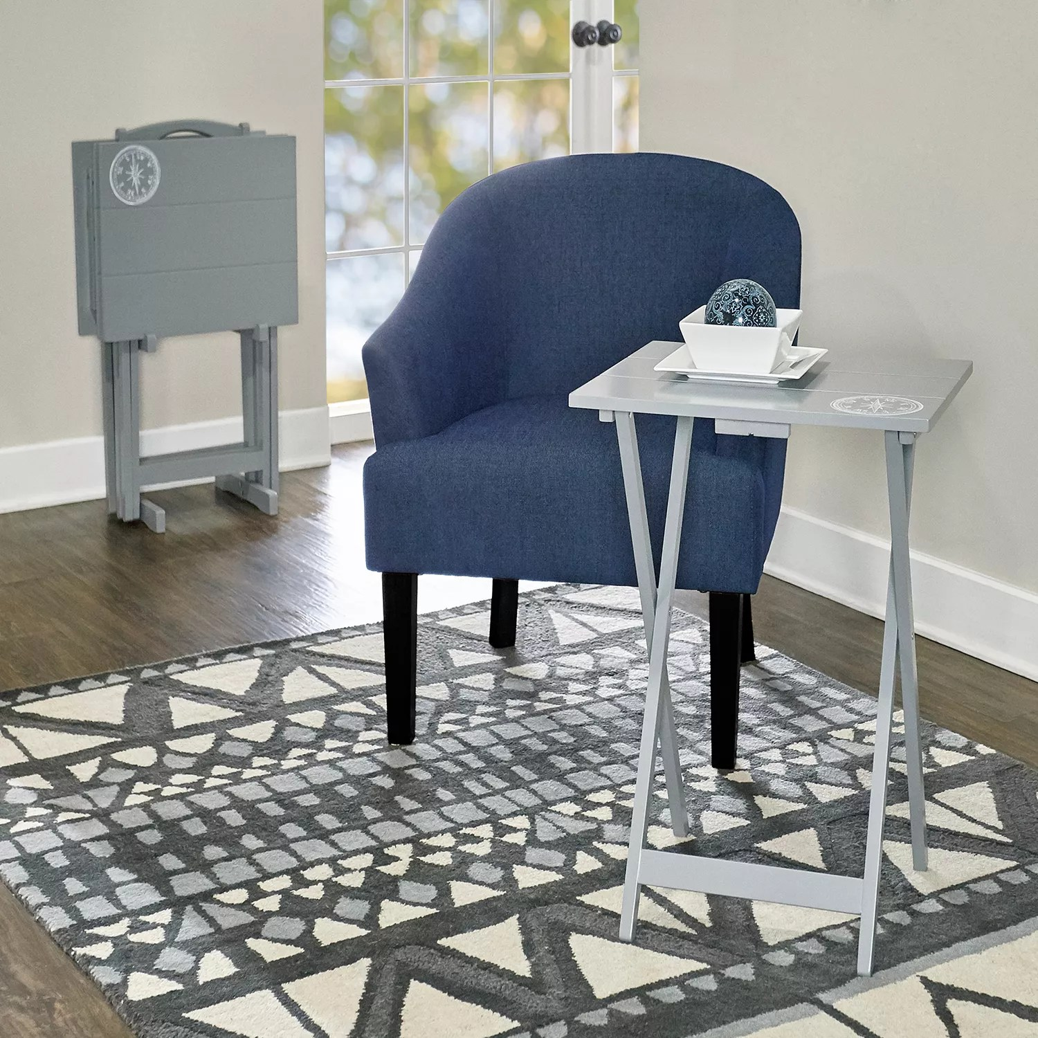 linon gray tv tray table 5 piece set