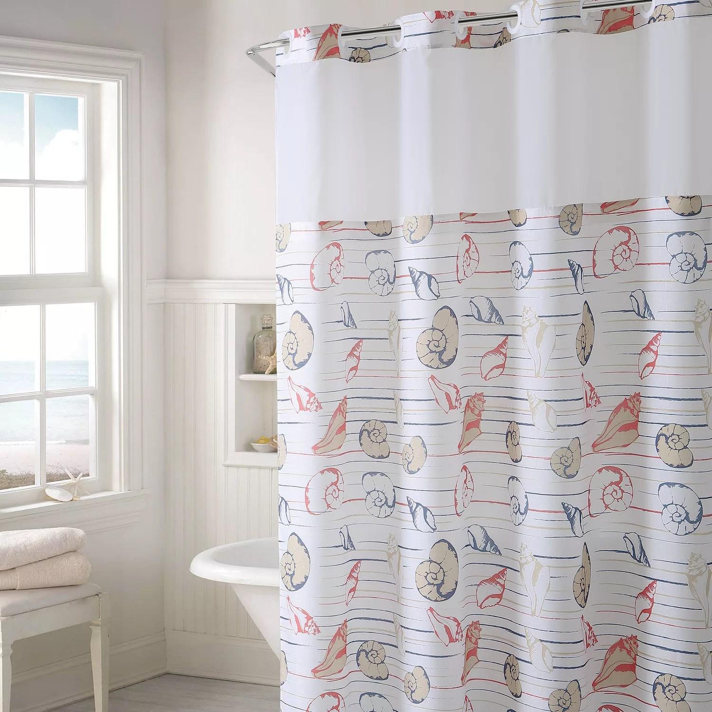 hookless seashell stripe shower curtain peva liner
