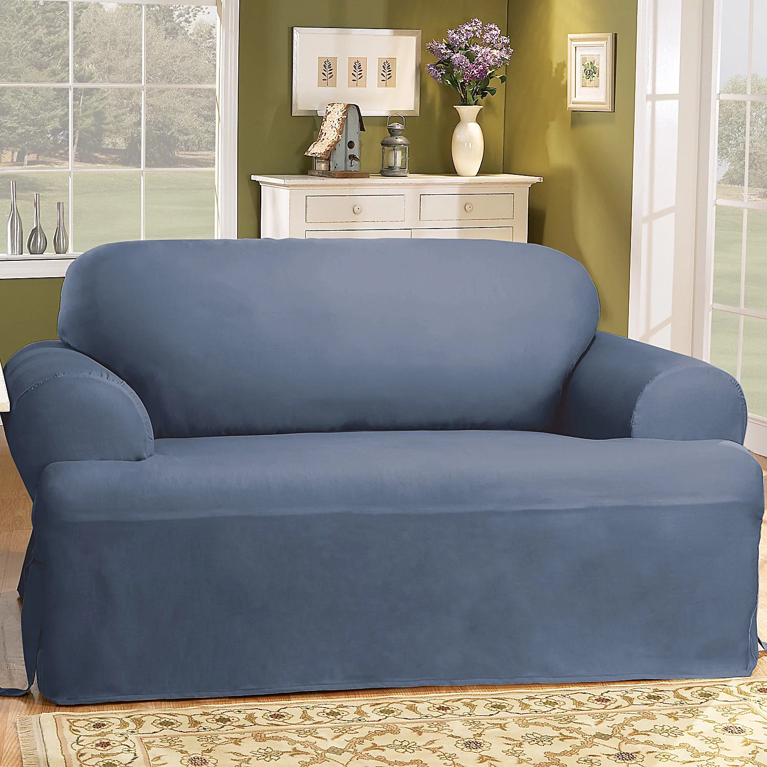 sure fit solid duck cloth t cushion sofa slipcover