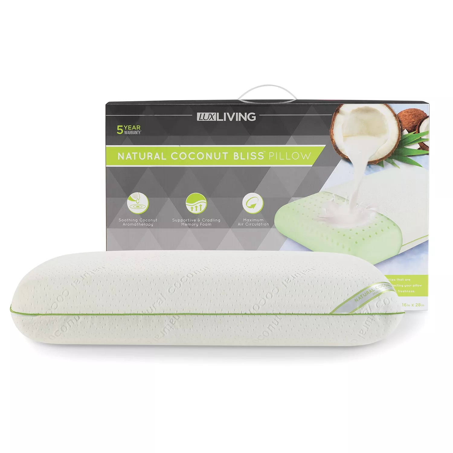 lux living coconut scented memory foam pillow