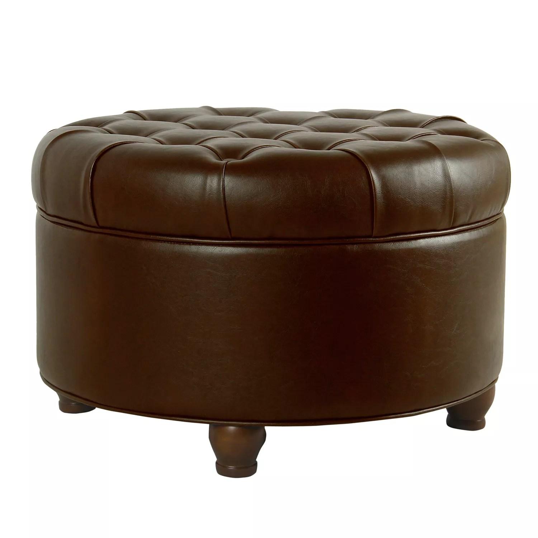homepop faux leather round storage ottoman