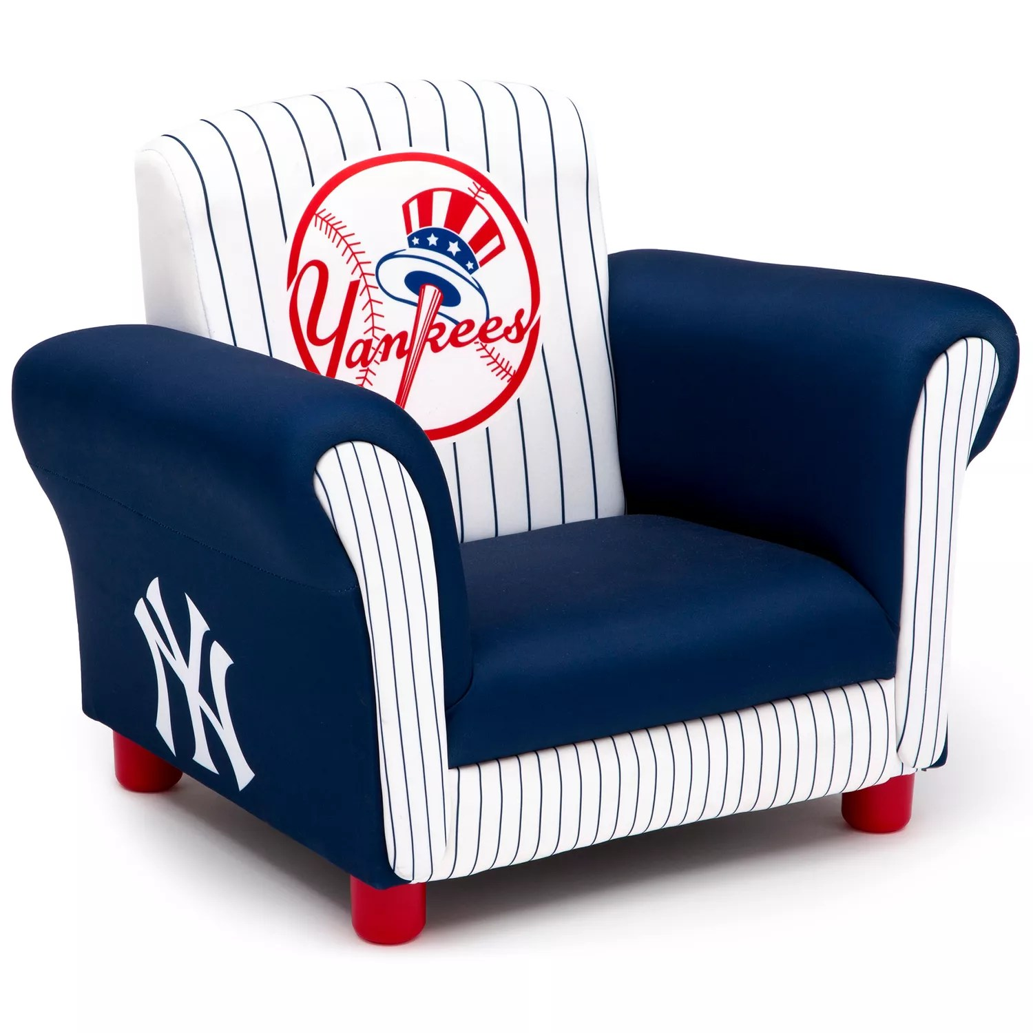 childrens upholstered chairs chair covers near me delta children new york yankees kids arm