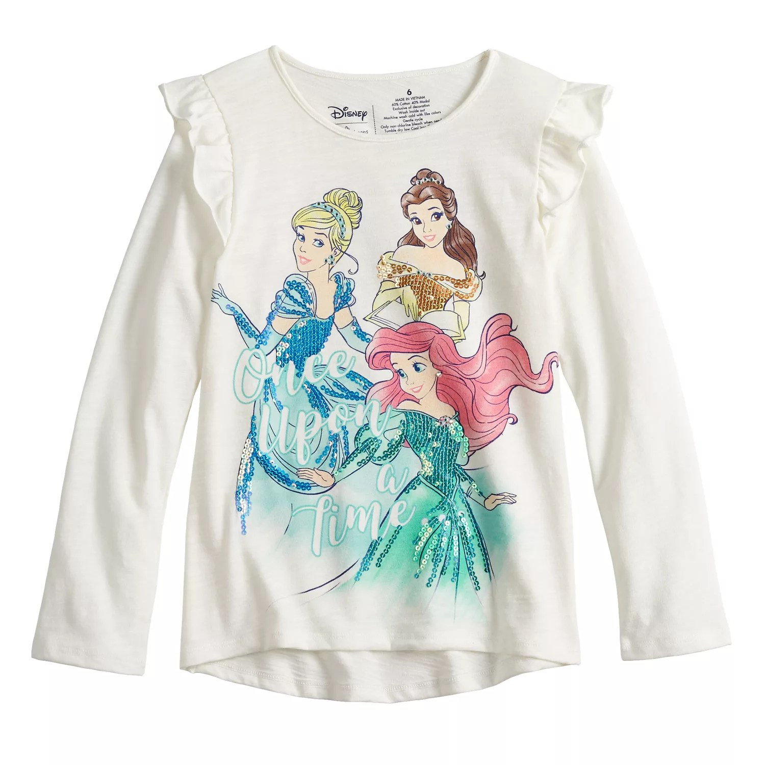 Disney   belle cinderella ariel girls sequined graphics top by jumping beans also rh kohls