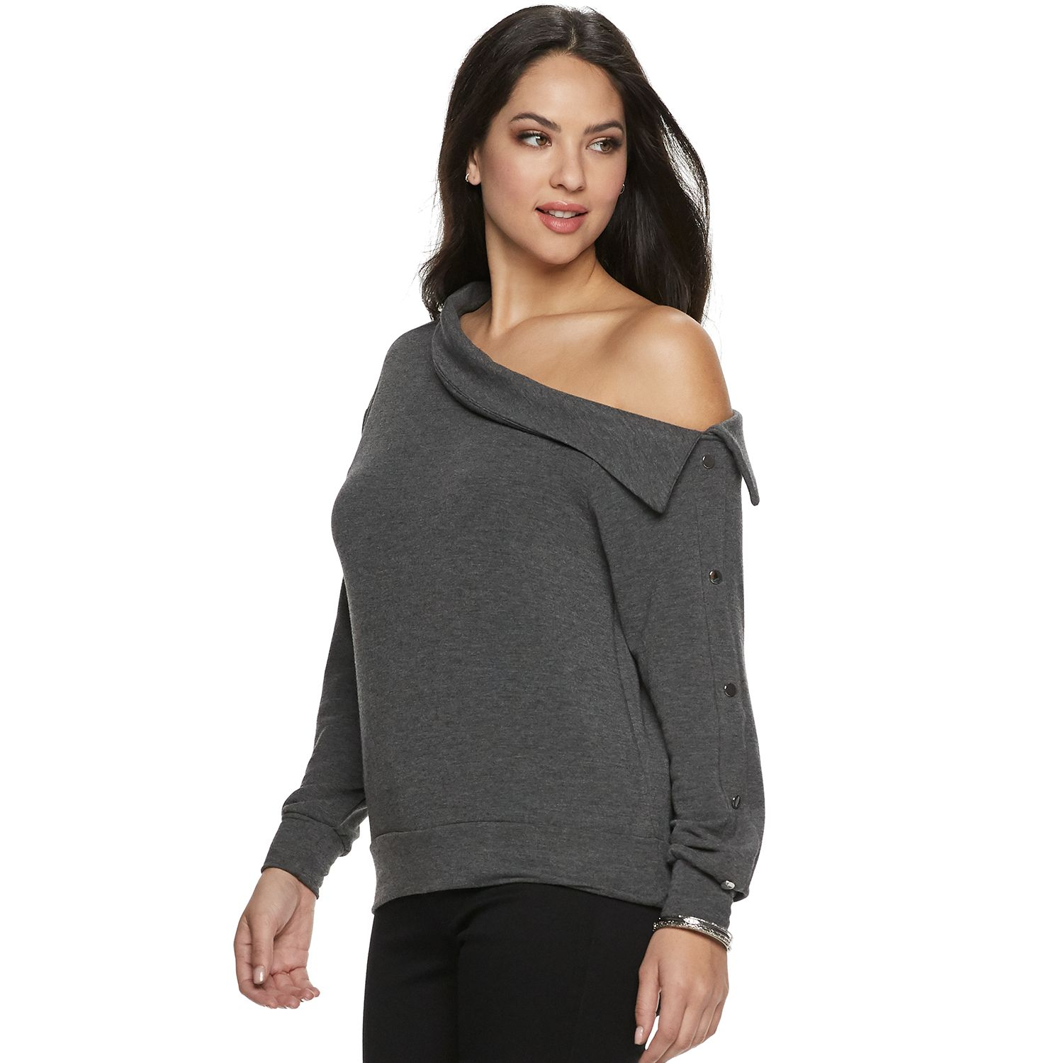 Women   jennifer lopez off shoulder snap sweatshirt also the collection kohl rh kohls