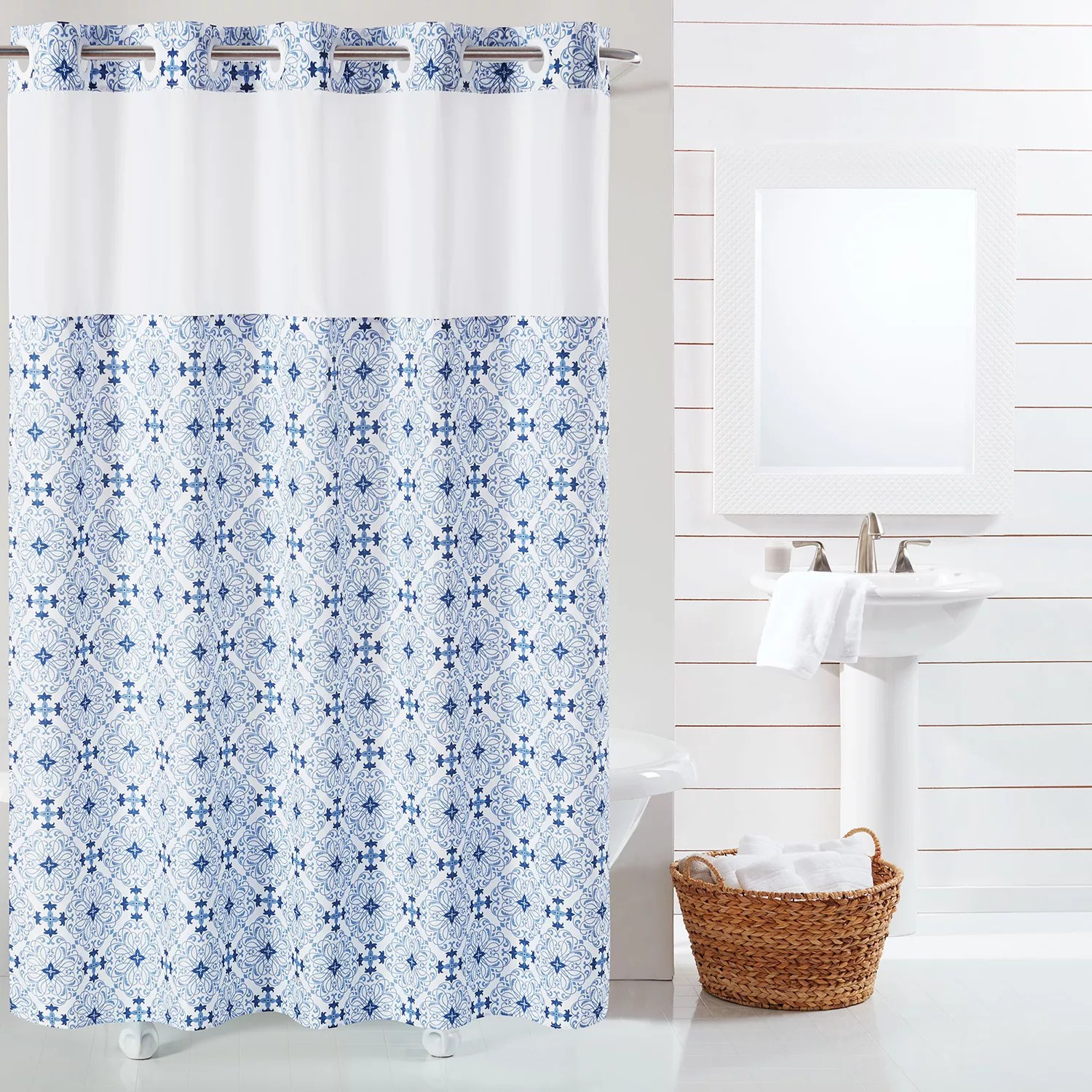 hookless ocean coral shower curtain and